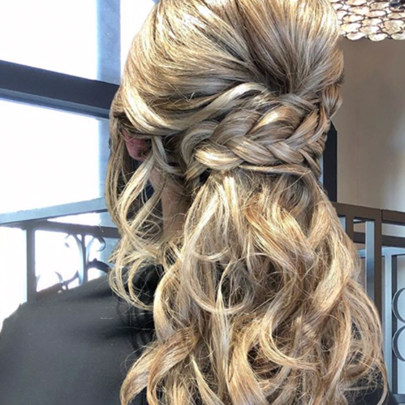 Blonde special occasion hair, braid, updo, Weddings, Bridal