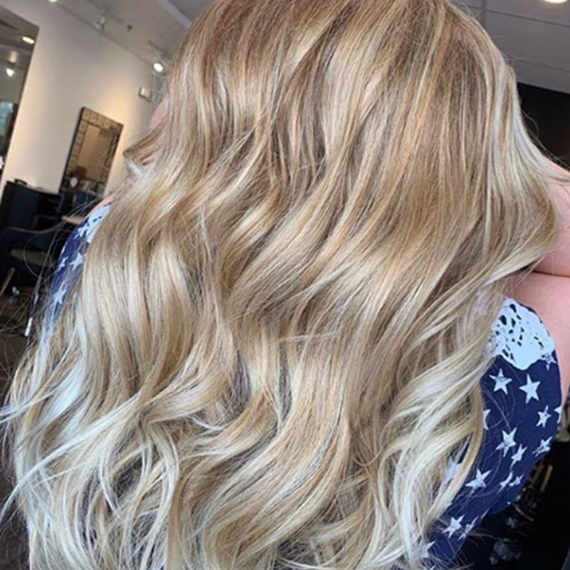 Blonde balayage with waves