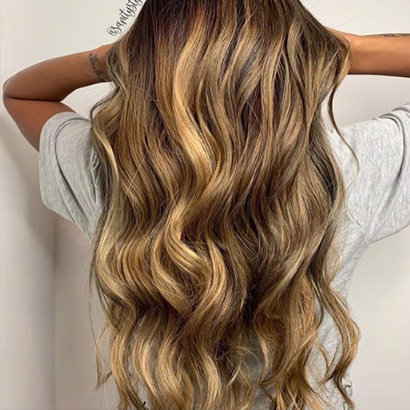 Golden caramel balayage hair