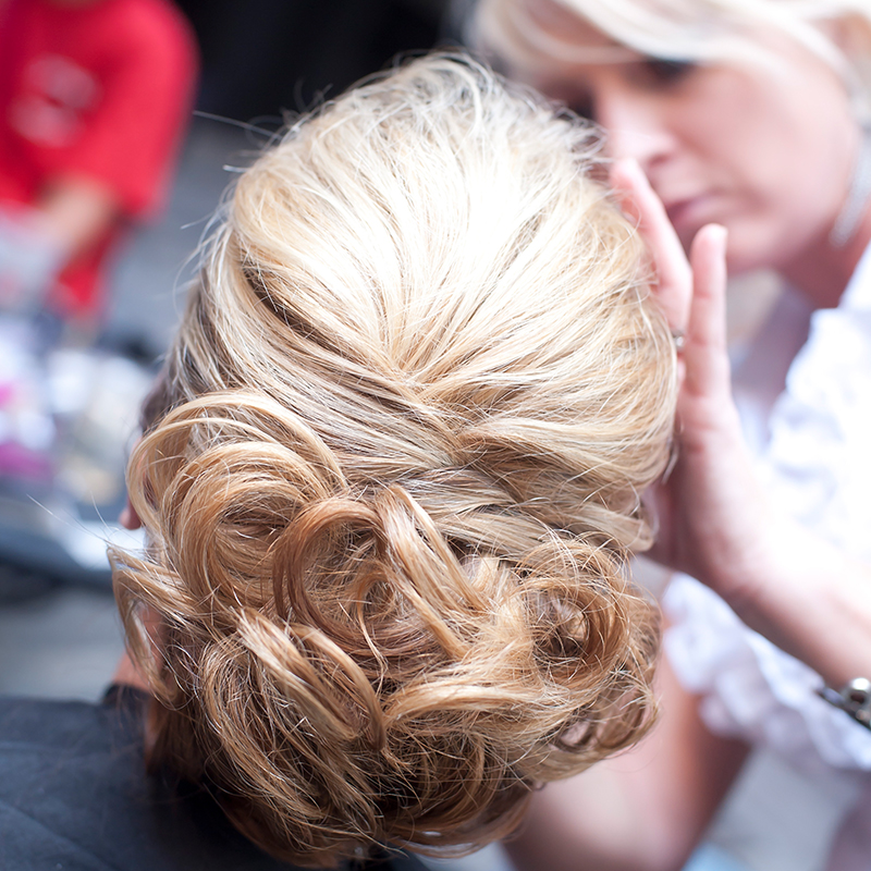 Blonde updo special occasion hair Nola bridal hair